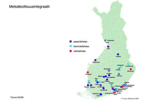 Suomen metsäteollisuusintegraatit: paperitehtaat kartonkitehtaat sellutehtaat Suomessa 2008